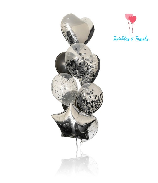 Silver Glamour Balloon Bouquet