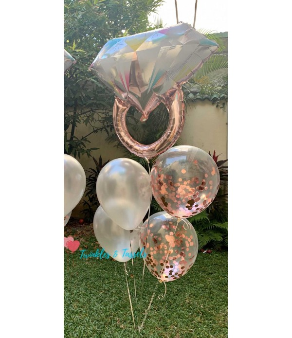 Ring on it Rose Gold Balloon Bouquet