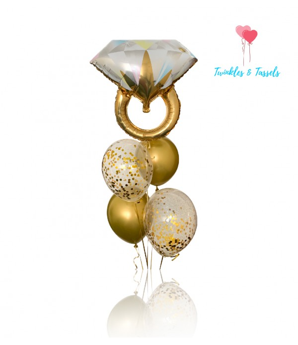 Ring on it Gold Balloon Bouquet