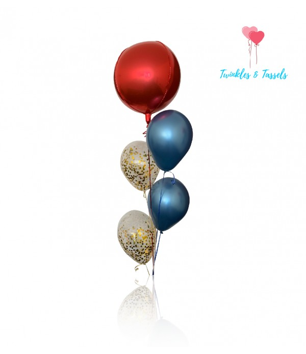 Luxe Red Blue & Gold Flair Balloon Bouquet