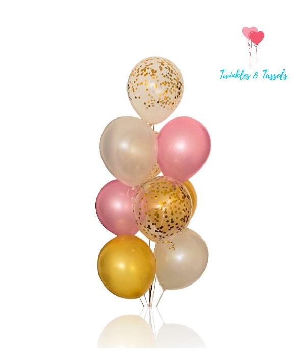 Pink White & Gold Pearl Balloon Bunch