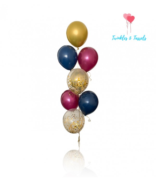 Burgundy, Gold and Navy Blue Mix