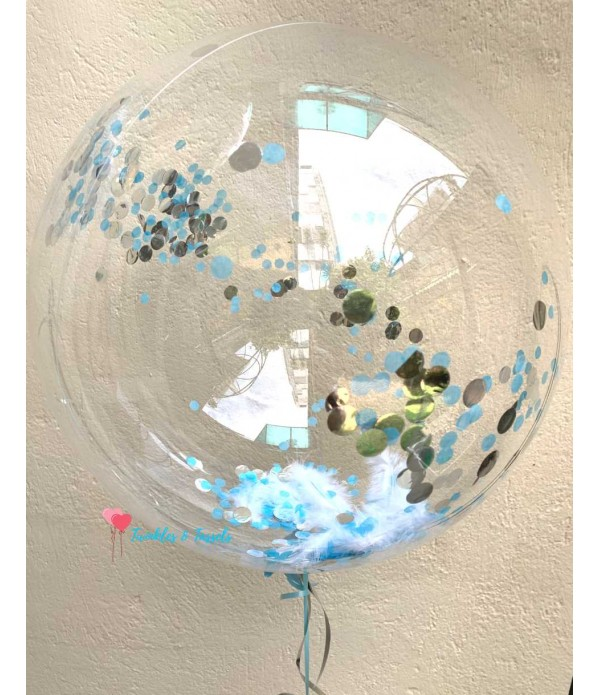 Bubble Feather Confetti Balloon - Helium 18""
