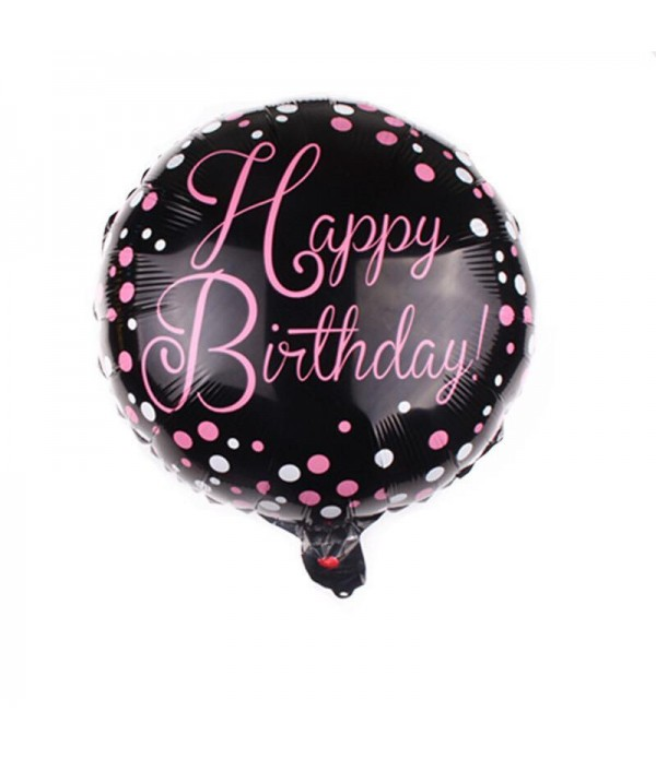 Happy Birthday Black & Pink Foil Balloon