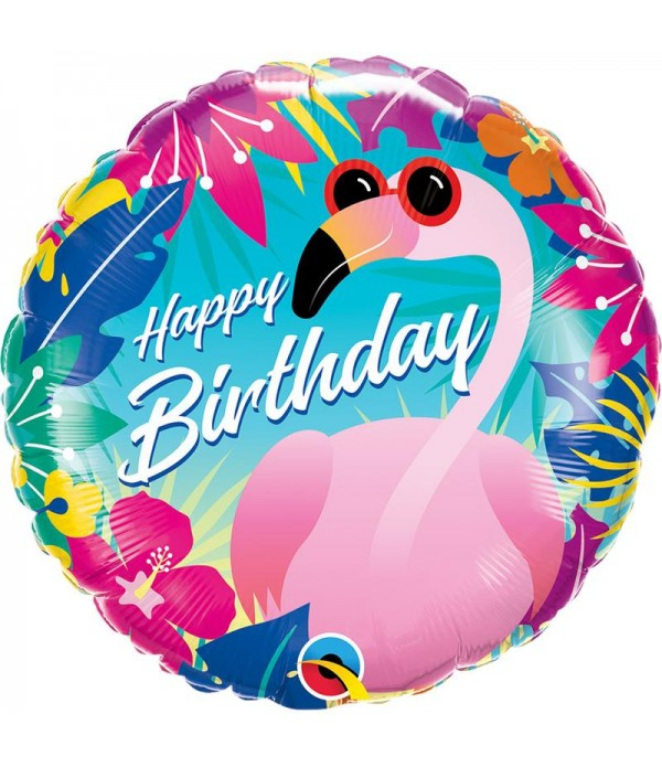 Tropical Birthday Flamingo Foil Balloon