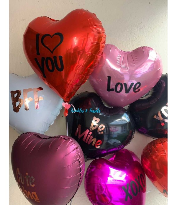 Personalised Heart Foil Balloon - Helium
