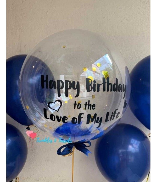 Personalised Feather Confetti Bubble Balloon - Hel...