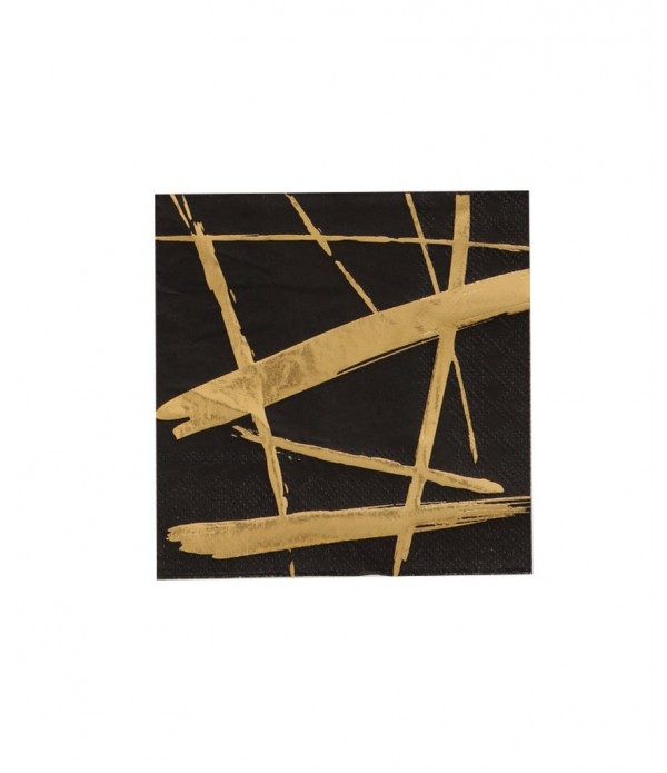 Black & Gold Brush Strokes Paper Napkins