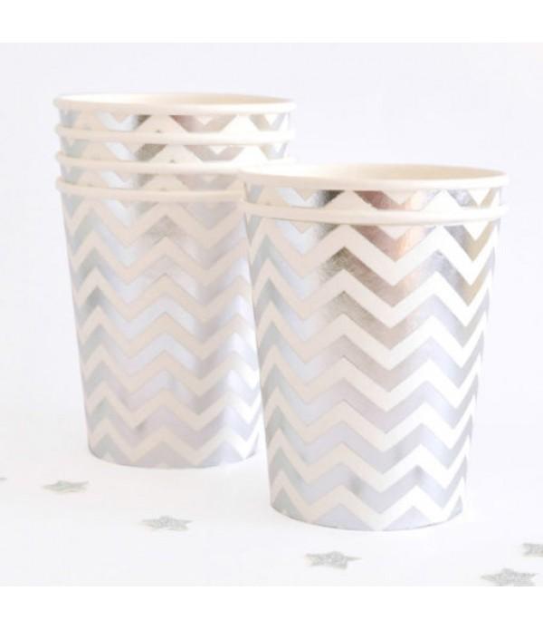 Silver Chevron Paper Cups