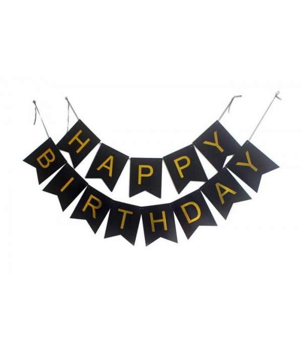 Black & Gold Happy Birthday Paper Banner