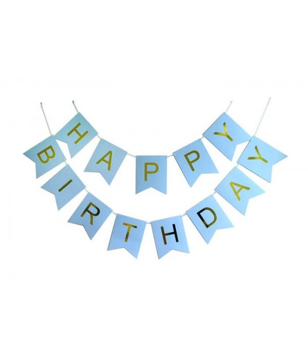 Blue & Gold Happy Birthday Paper Bunting