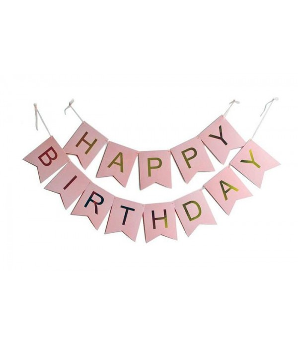 Pink & Gold Happy Birthday Paper Bunting