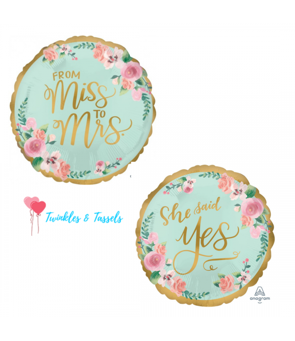 Miss to Mrs / She said Yes Foil Balloon